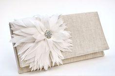 Dahlia Celebrations Clutch - Ivory Silk Chiffon on #organic Linen #etsy by Wild Peace Organics