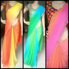 #multicolour #chiffon #saree #kutch #blouse #zatwa