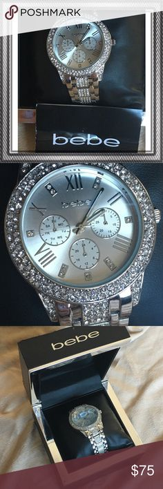 New!! ♣️BEBE silver rhinestone watch •NEW •Gorgeous Silver rhinestone watch •comes with box bebe Accessories Watches