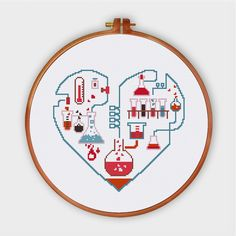 This modern and funny chemistry of love cross stitch pattern is an ideal handmade present for your friends and family. An unique funny expression of love.