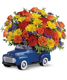 Order Teleflora's Ford Pickup Bouquet from Villere's Florist, your local Metairie florist. Send Teleflora's Ford Pickup Bouquet for fresh and fast flower delivery throughout Metairie, LA area. Father's Day Flowers, New Baby Flowers, Flowers For Men, Bright Flowers, Orange Flower Bouquets, Orange Flowers, Flower Vases, Bouquet Flowers, Birthday Flower Delivery