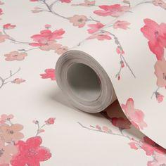 Chalk Pink Blossom Wallpaper | Departments | DIY at B&Q