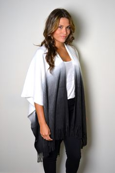 BLACK OMBRE Cashmere Poncho, Boho Fringed Poncho Wrap Western Woven Pattern Shawl Plus Size, Kimono, Bohemian Wrap by AnytimeScarf on Etsy