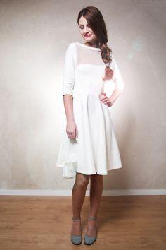 Knielange Kleider - Sissi Brautkleid cremeweiß - ein Designerstück von Mirastern bei DaWanda