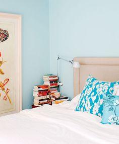 aqua bedroom, full nightstand