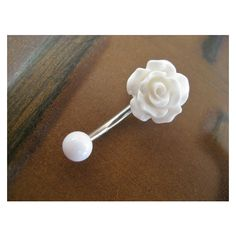 Rose Belly Button Ring Jewelry- White Rose Bud Rosebud Flower Navel... ❤ liked on Polyvore featuring jewelry, flower jewellery, belly button rings jewelry, white jewelry, blossom jewelry and flower jewelry