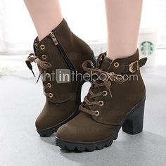 Women's Shoes Flange Round Toe Leisure Chunky Heel Bootie / Comfort Boots Dress / Casual 2017 - $17.99