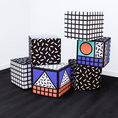 Camille Walala's collection of home accessories patterned with bold graphics influenced by Memphis will launch at this month's London Design Festival