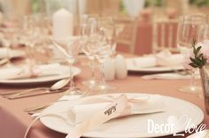 Garden glamour wedding decoration by Decor2Love:-) Wedding reception ideas, wedding place card on  powder pink ribbon, wedding napkin, blush wedding