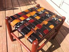 Attention Moms: Coachs Gift Idea LARGE FootStool Custom made Personalized from Kids and Team Recycled Belts via Etsy