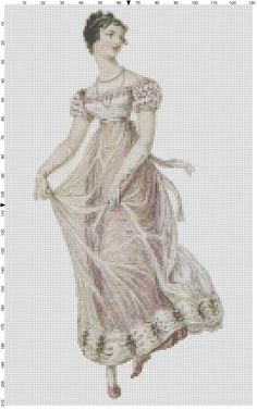 0 point de croix femme regence en blanc- cross stitch Regency lady in pink cross