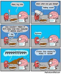 [Source: The Awkward Yeti Comics Akward Yeti, The Awkward Yeti, Funny Relatable Memes, Funny Jokes, Hilarious, Funny Gifs, Funny Videos, Stupid Funny, Funny Cute