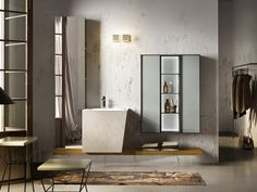 Lacquered wall-mounted vanity unit MAIA 305 by Edoné by Agorà Group design Marco Bortolin