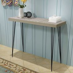 Brown Console Table Sideboard Specification The large tabletop is ideal for displaying. Tabletop thickness: This console table has an understated. This console table is very sturdy and durable. Console Table Living Room, Hallway Console, Narrow Console Table, Wooden Console Table, Hallway Furniture, Table Furniture, Entryway Tables, Entry Hallway, Retro Furniture
