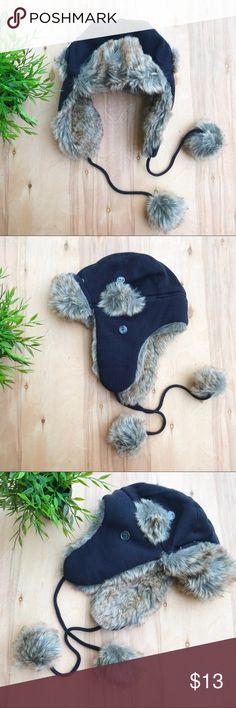 Faux fur thermal beanie Faux fur, black thermal beanie hat; ear muffs can be buttoned up or worn down over ears. Great condition and VERY warm! Re-posh... Accessories Hats