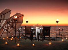 romantic sunset dinner at the beach