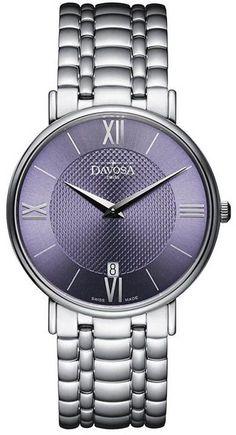 Męski zegarek Davosa Pianos II 163.476.45, minimalistyczny zegarek klasyczny Davosa, bardzo dokładny mechanizm kwarcowy na baterię, grawerowanie i wysyłka gratis
