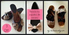 NOVEDAD EN EL BLOG !!! 3 TUTORIALES EN 1 para reciclar tus zapatos de verano,3 ideas #diy con diferentes zapatos de verano. #Recicla y reestrena con el siguiente Post: http://www.tachuelasdiy.com/2015/06/diy-reciclar-3-zapatos-viejos-verano.html?m=1
