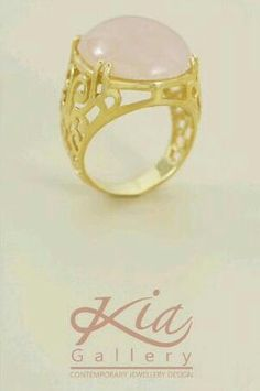 New design by Kia Gallery Quartz Stone, Rose Quartz, Turkish Jewelry, Caligraphy, Stone Rings, Gold Rings, Rose Gold, Gallery, Design