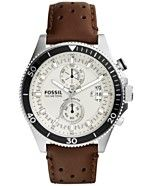 Fossil Men's Chronograph Wakefield Brown Perforated Leather Strap Watch 45mm CH2943