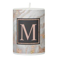 #gold - #Modern Faux Rose Gold Marble Swirl Monogram Pillar Candle