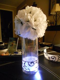 My centerpieces for the wedding..They will be filled with water so the LEDs will illuminate much more and maybe a few petals in the water..Everyone let me know what you think!!