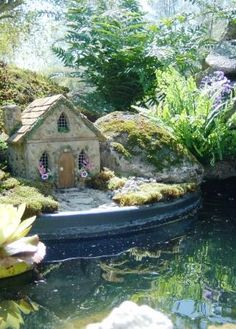 Fairy garden incorporating pond - she was planning to camouflage the edge with stones, moss, etc. - such a great idea! I'm envisioning a fairy fishing pier, lol  ***********************************************   Enchanted Fairy Gardens - #fairy #garden #pool #pond t√