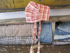 Old Primitive Red White Homespun Fabric Rag Doll Bonnet Great Country Find AAFA   eBay