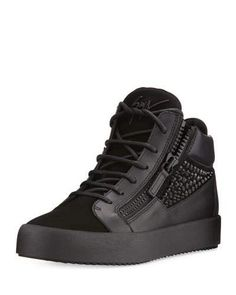 N431Q Giuseppe Zanotti Crystal-Detail Leather & Suede Mid-Top Sneaker, Black
