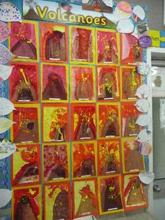 Volcanoes classroom display photo - Photo gallery - SparkleBox Student work display: make lava with puffy paint Classroom Display Boards, Classroom Organisation, Classroom Displays, Teaching Displays, Dinosaur Activities, Dinosaur Crafts, Art Activities, Dinosaur Projects, Dinosaur Classroom