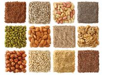 Food pyramid guide and nutrition information for a balanced vegetarian diet or vegan diet, including nuts and seeds.