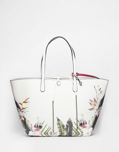 Image 1 ofFiorelli Savannah Tropical Floral Tote With Detachable Organiser