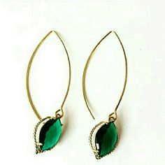 2 x HOSTPIC  GOLD EMERALD MARQUISE EARRINGS Gorgeous gold emerald marquise dangle earrings.  Chic and perfect for any occasion!  Perfect for day to evening glam! Very lightweight! Nickel Free 2.2 inches shopjewelry  Jewelry Earrings