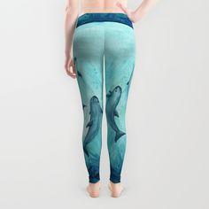 "Leggings ••• ""Song of the Vaquita"" watercolor painting art ••• Vaquita Porpoises - Endangered species art series"