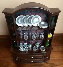 BARBIE 16 SCALE FURNITURE OOAK HUTCH WINE CABINET TEA SET LIQUOR GLASSES
