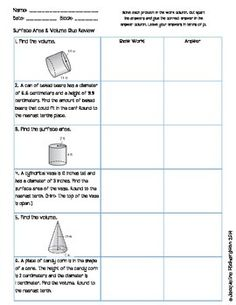 ... Area, and Volume on Pinterest | Surface Area, Circles and Worksheets