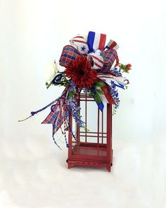 Patriotic Lantern Swag Fourth of July by SouthernCharmWreaths
