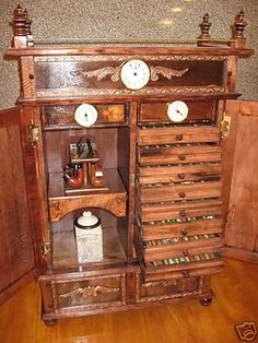 Antique Style Pipe Rack Cigar Humidor Cabinet