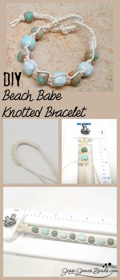 DIY Macrame Beach Stone Bracelet This knotted hemp bracelet uses backward and forward half hitch macrame knots, making this a very easy project. Find the tutorial for the DIY Macrame Beach Stone Bracelet from Jesse James Beads here. #cbloggers #beading
