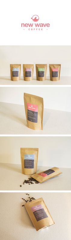 Re-branding and packaging for coffee distributors, New Wave Coffee - by Charlotte Fosdike  #branding #logo #colours #packaging #coffee #label #simple #minimalist #bright #modern