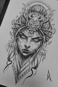 Oni Tattoo, Catrina Tattoo, Tatto Ink, Tattoo Outline, Tatoo Art, Body Art Tattoos, Dark Art Tattoo, Tattoo Design Drawings, Tattoo Sleeve Designs