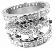 Authentic! Cartier 18k White Gold Diamond Panther Band Ring Size 55 US 7 1/4 #Cartier #Band