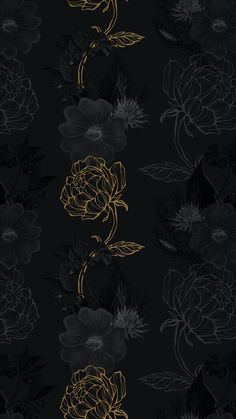 Download premium image of Hand drawn black and gold flower pattern on a dark background by Benjamas about black gold instagram story background, Phone mobile phone wallpaper, instagram black, iPhone wallpaper gold, and Gold and black background 2405436