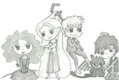 The Big Four - Merida, Rapunzel, Jack, and Hiccup
