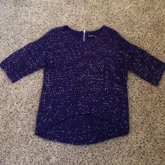 Sweater with sequins. Dark blue/ purple sweater. 54% acrylic 46% polyester. Zipper on back neck. 3/4 in sleeves. Front is shorter than back. Bundle & save!!! Allen B Sweaters