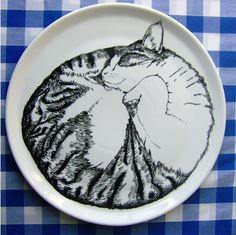 Sleeping Cat Serving Plate by Jimbobart (hand painted).  When my cat curls up, she's exactly round like this.