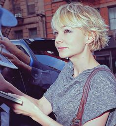 Carey Mulligan's hair. Great back with the little messy flip!