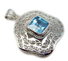 excellent Blue Topaz 925 Sterling Silver Blue Pendant india US gift