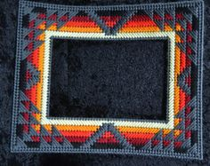 Native American Matting Frame by NativeTouchJewelry on Etsy Plastic Canvas Tissue Boxes, Plastic Canvas Crafts, Plastic Canvas Patterns, Bargello Patterns, Bargello Needlepoint, Canvas Designs, Canvas Ideas, Beading Projects, Crochet Projects