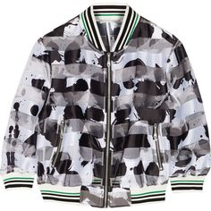 Rebecca Minkoff Lola printed satin and organza bomber jacket ($190) ❤ liked on Polyvore featuring outerwear, jackets, coats & jackets, black, lightweight bomber jacket, organza jacket, zipper jacket, lightweight jacket and blouson jacket